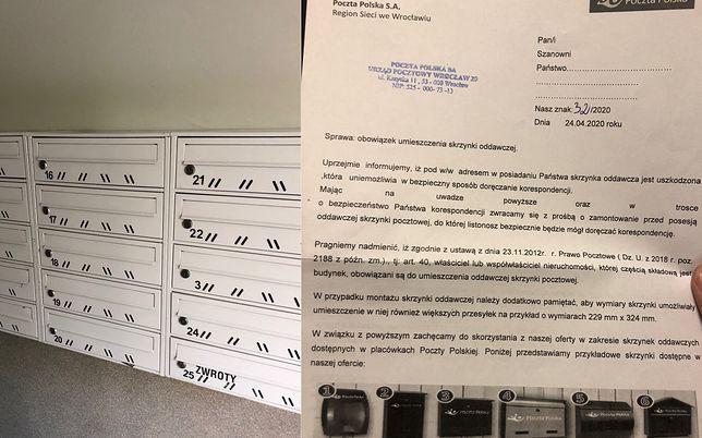 Uszkodzona skrzynka na listy. Poczta Polska wzywa do naprawienia usterki