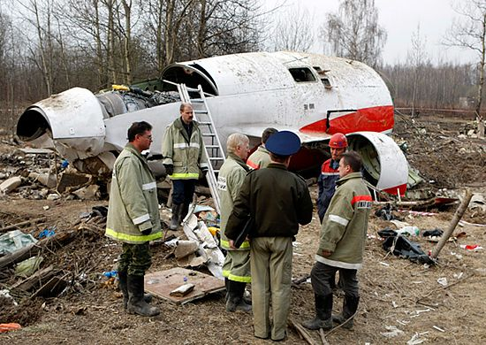 Miejsce katastrofy prezydenckiego samolotu - zdjęcia