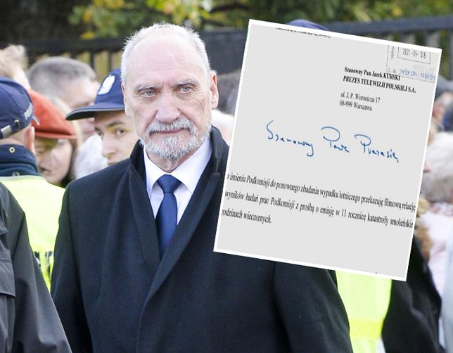 Antoni Macierewicz skierował prośbę do prezesa TVP