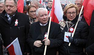 Jarosław Zieliński i Jarosław Kaczyński na Biało-Czerwonym marszu 11 listopada