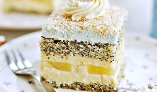 Ciasto makowe z kokosem i ananasem. Słodkości na Gwiazdkę