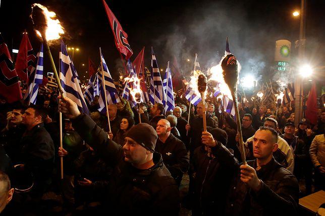 Demonstracja Złotego Świtu - największej partii Sojuszu na rzecz Pokoju i Wolności