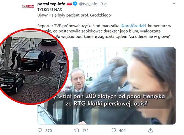 """""""Tomasz Grodzki unika pytań o korupcję"""". """"Wiadomości"""" TVP o incydencie sprzed Senatu"""