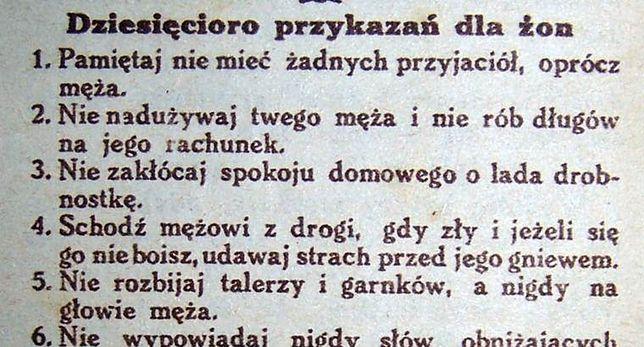 """10 przykazań dla żon. """"Przewodnik katolicki"""" z roku 1931"""