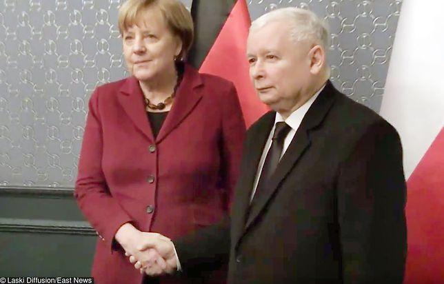 Angela Merkel i Jarosław Kaczyński, spotkanie w hotelu Bristol, luty 2017