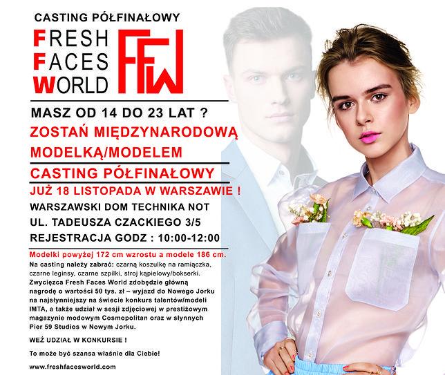 Pragniesz zostać modelką/modelem? Przyjdź na casting półfinałowy do Fresh Faces World