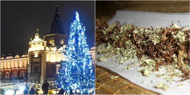 Turysta przechadzając się po krakowskim Rynku zapragnął podzielić się z przypadkowymi przechodniami skrętem z marihuaną.