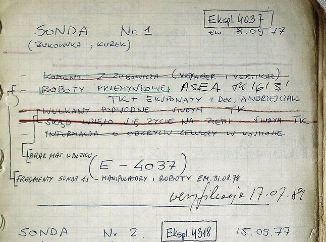 Karta z zeszytu redakcyjnego z pierwszego odcinka - emisja 8.09.1977r