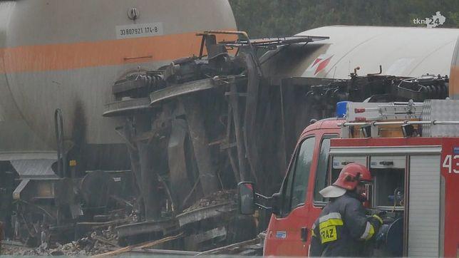 Świętokrzyskie: pociąg z cysternami z gazem zderzył się z ciężarówką. Jedna osoba jest ranna