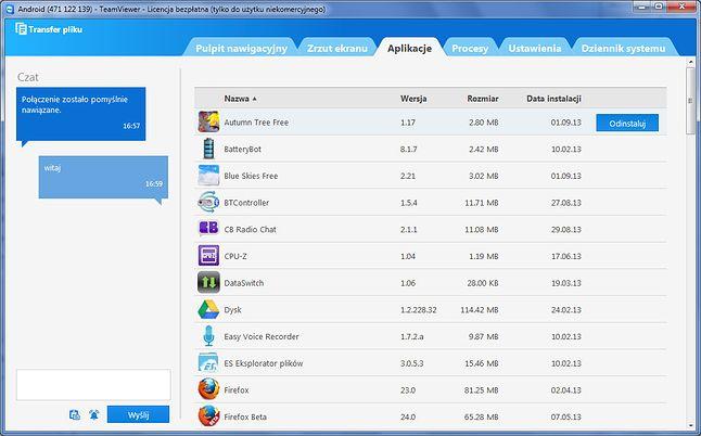 TeamViewer dla Windows - widok panelu dla smartfona