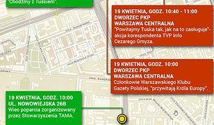 Donald Tusk w Warszawie. Publikujemy mapę demonstracji