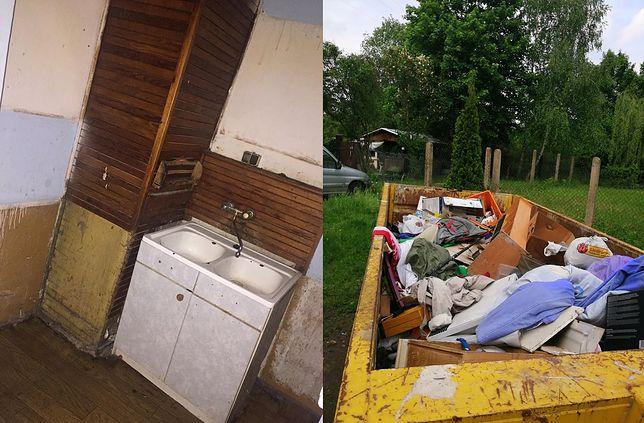 Po lewej mieszkanie, które zaproponowano rodzinie, po prawej kontener z osobistymi rzeczami wyrzuconymi w czasie eksmisji