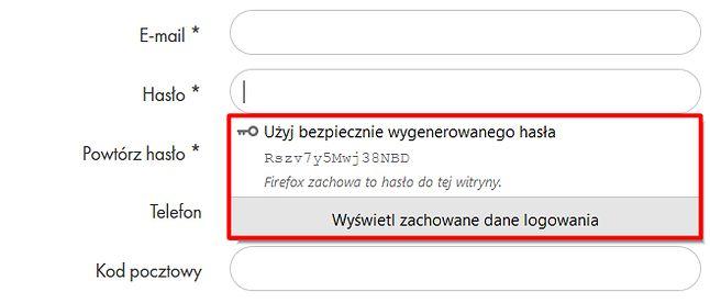 Firefox 76 zaproponuje bezpieczne hasło podczas rejestracji w nowym serwisie, fot. Oskar Ziomek.