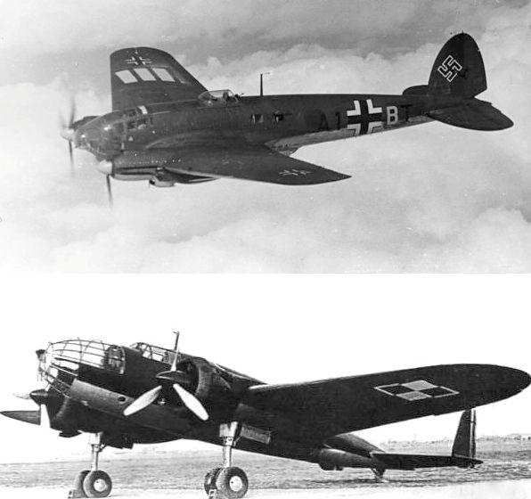 Góra: Heinkel He 111, dół: PZL.37 Łoś.