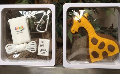 Silikonowy brelok oraz pluszak-żyrafa to karty płatnicze dla dzieci poniżej 13. roku życia.