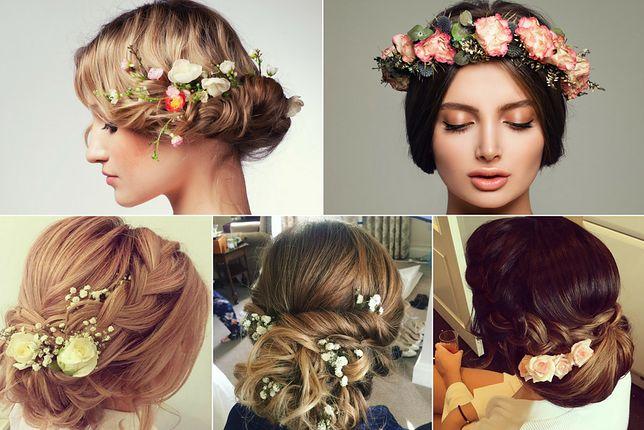 Kwiaty są często wybieranymi ozdobami do fryzury ślubnej