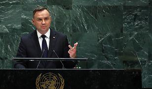 Prezydent Andrzej Duda przemawia na forum ONZ.