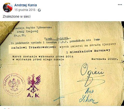 """Taki """"wyrok śmierci"""" na prezydenta Warszawy zamieścił na swoim profilu Andrzej Kania"""