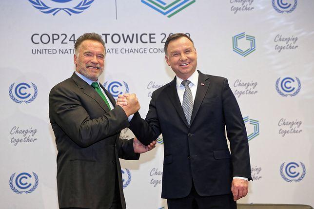 Andrzej Duda i Arnold Schwarzenegger. Spotkanie w Katowicach