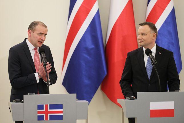 Konferencja prasowa prezydentów Polski i Islandii