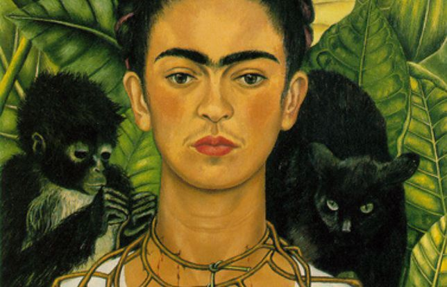 """Frida Kahlo """"Autoportret z cierniowym naszyjnikiem i kolibrem"""""""