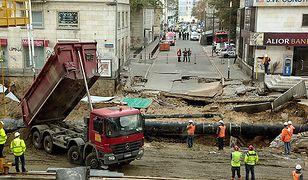 Miejsce osunięcia się ziemi w Warszawie