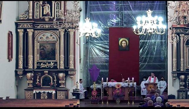 Niedziela Palmowa w Nowym Sączu. Kuriozalna transmisja ze mszy