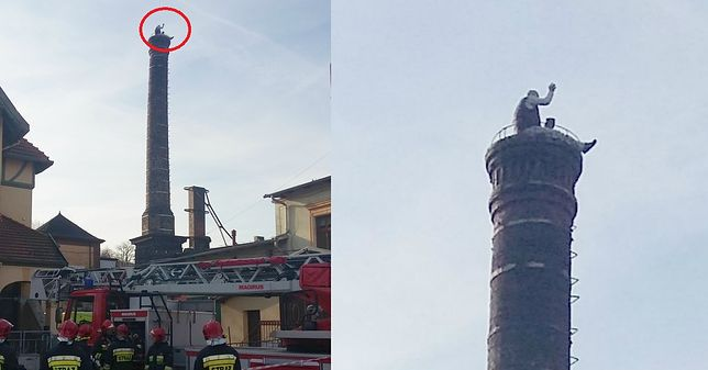 Agresywny mężczyzna siedział na kominie i rzucał cegłami w policjantów