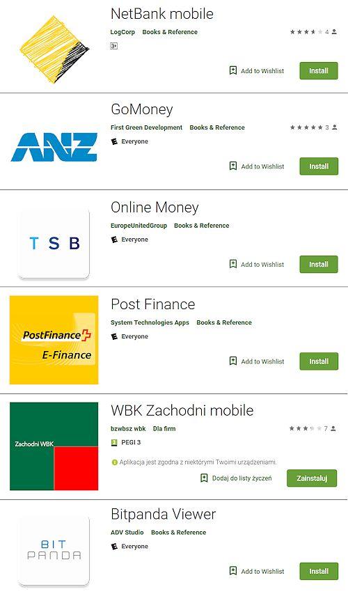 Podróbki aplikacji to częste przypadki szczególnie w przypadku Androida. Powyżej przykład fałszywej aplikacji Banku Zachodniego WBK, źródło: ESET.