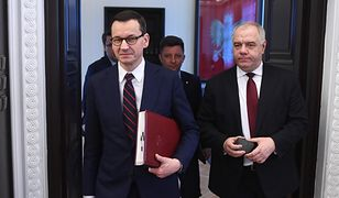 Pytania ws. wyborów prezydenckich. Na zdjęciu Mateusz Morawiecki oraz Jacek Sasin