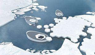 Łódź podwodna tworząca bryły lodu.