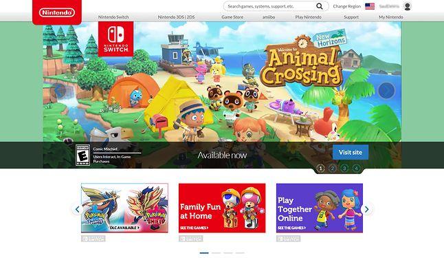 Oficjalna witryna Nintendo, niestety niedostępna w j. polskim, fot. Jakub Krawczyński