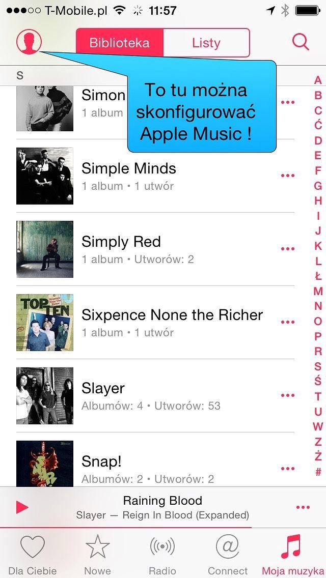 Apple Music konfigurujemy w małej ikonce umiejscowionej w lewym, górnym rogu.