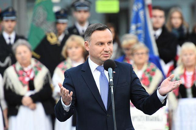 Prezydent Andrzej Duda na spotkaniu z mieszkańcami w Oświęcimia.