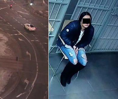Pijana i bez uprawnień. 19-latka rozbiła auto na rondzie Dmowskiego [WIDEO]