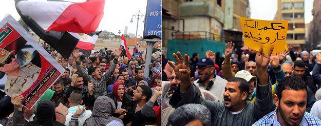 Zwolennicy obecnej głowy państwa Abda Fattaha al-Sisiego i zwolennicy obalonego prezydenta  Muhammada Mursiego w rocznicę rewolucji