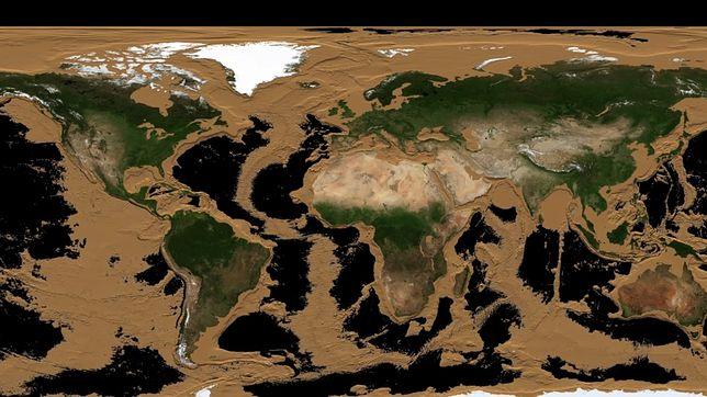 NASA pokazuje, jak wyglądałaby Ziemia bez oceanów.