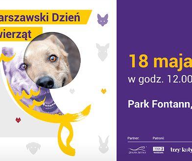 Grafika promująca Warszawski Dzień Zwierząt w Parku Fontann 18 maja