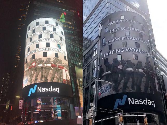 USA. Wielki napis na Times Square z okazji 1 września