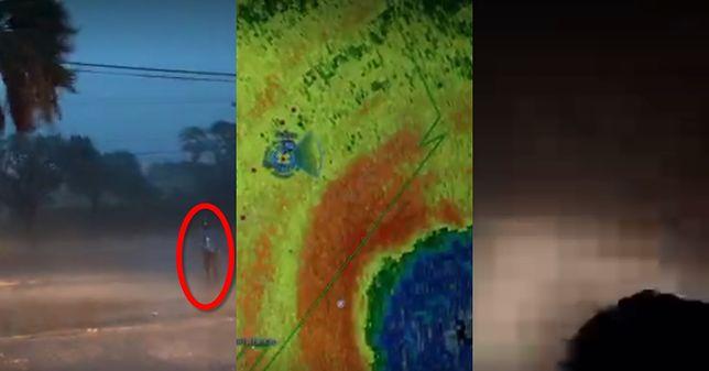 Kadry z relacji Jeffa Piotrowskiego, od lewej: osoba walcząca z nasilającym się wiatrem, podgląd na widok satelitarny, moment, w którym zawalił się dach nad głową Piotrowskiego.