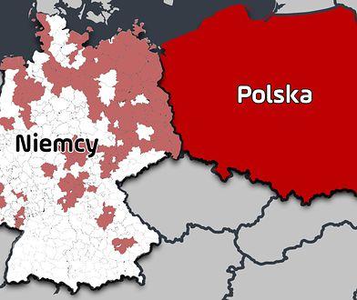 Czerwony kolor na obszarze Niemiec wskazuje, gdzie Polacy są największą liczebnie mniejszością