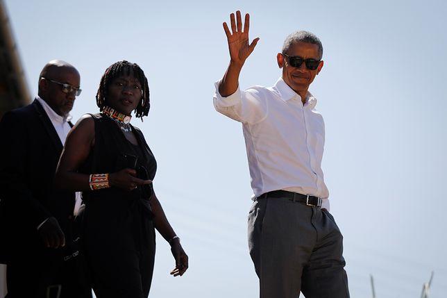 Auma i Barack Obama podczas wizyty prezydenta USA w Kenii.
