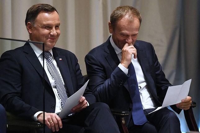 Andrzej Duda i Donald Tusk rozmawiali ze sobą uśmiechnięci. Znamy fragmenty rozmowy