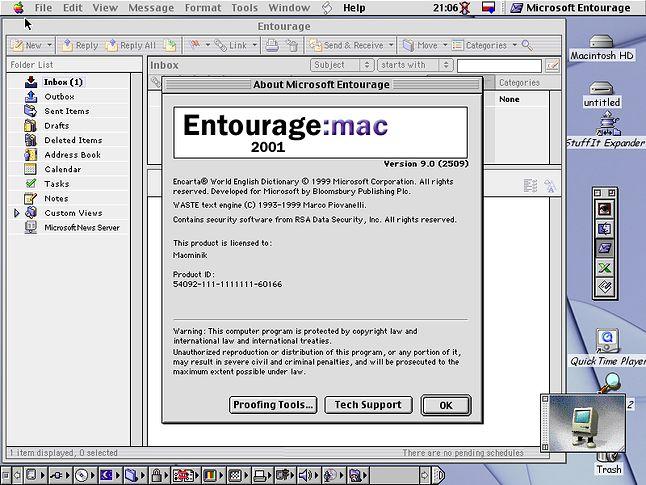 Microsoft Entourage, czyli jeszcze bardziej zaawansowany klient poczty.