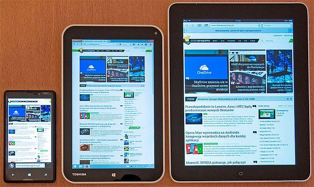 od lewej: Lumia 820, Toshiba Encore i iPad 1 gen