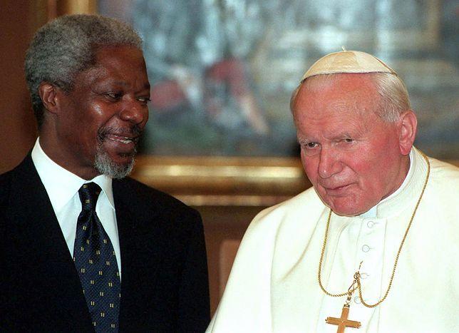 Kofi Annan wielokrotnie rozmawiał o pokoju z papieżem Janem Pawłem II
