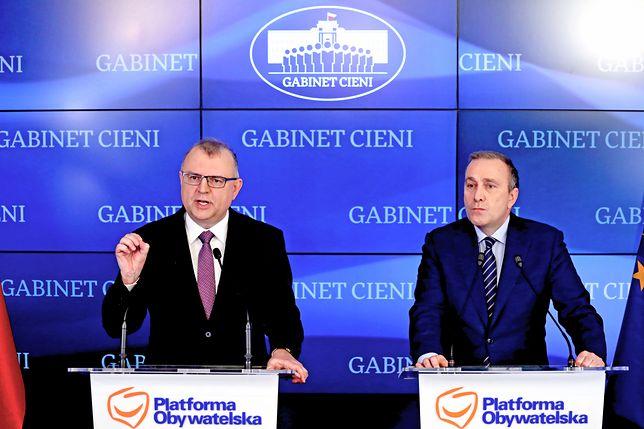 Kazimierz Michał Ujazdowski i Grzegorz Schetyna na wspólnej konferencji