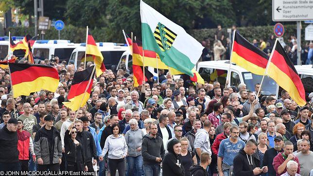 Marsz zwolenników AfD w Niemczech.