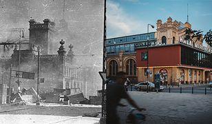 Płonąca Hala Mirowska podczas Powstania Warszawskiego (po lewej) i ten sam budynek obecnie (po prawej)