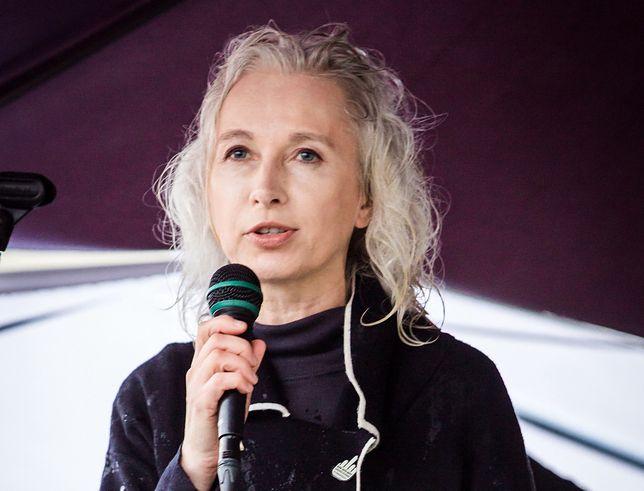 Manuela Gretkowska na czarnym proteście w październiku 2016 r.